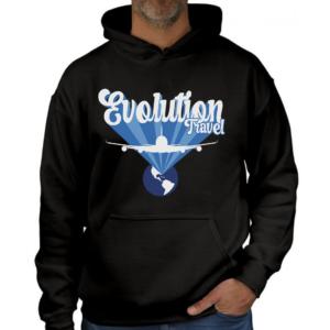 Evolution Sky Life Graphic Black Hoodie