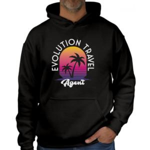 Evolution Travel Agent Graphic Black Hoodie